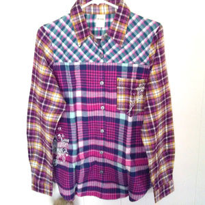 New Blair Women's Embroidered Flannel Shirt Sz S